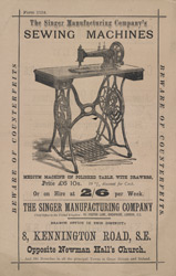 Advert for Singer's Sewing Machine, reverse side
